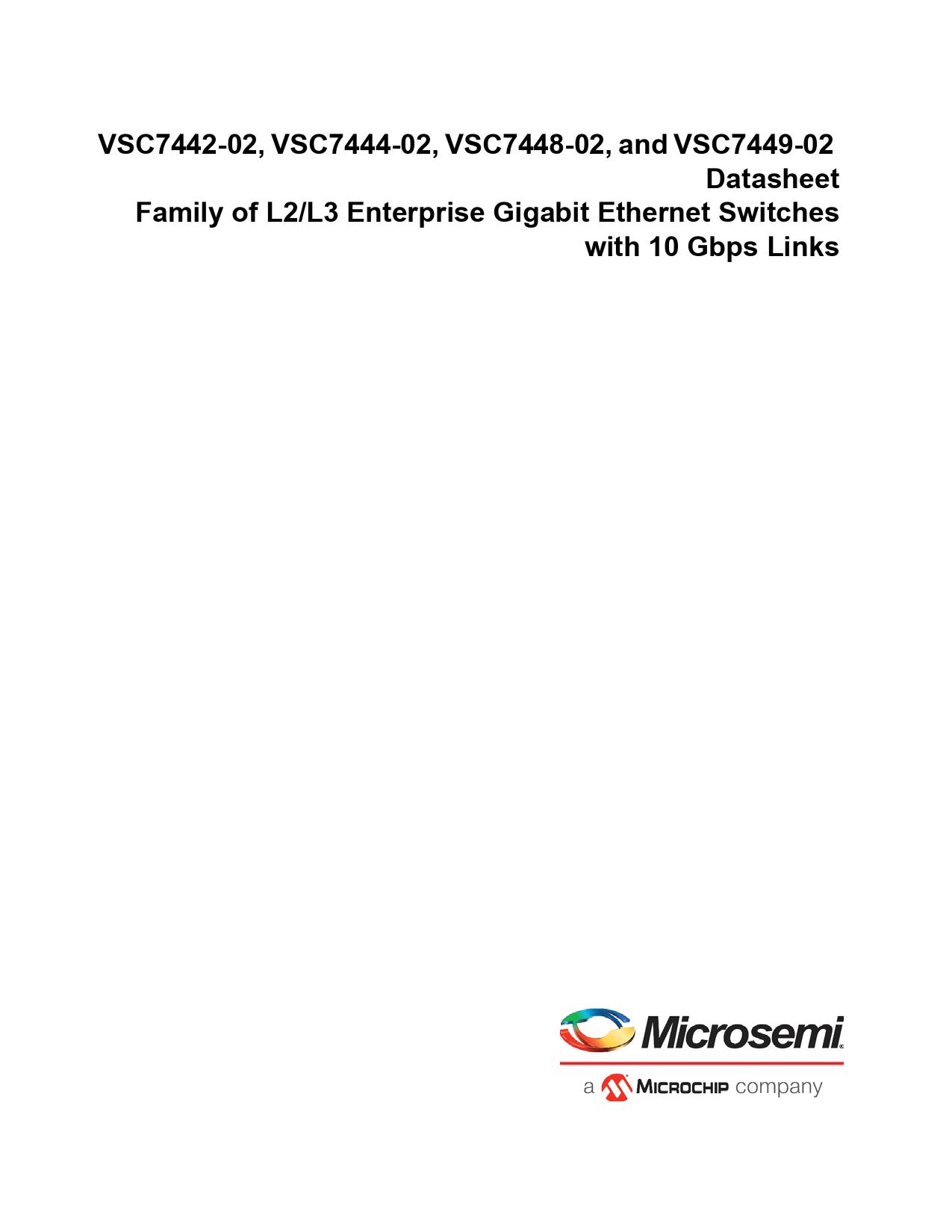 Datasheet VSC7442-02, VSC7444-02, VSC7448-02, VSC7449-02 Microchip