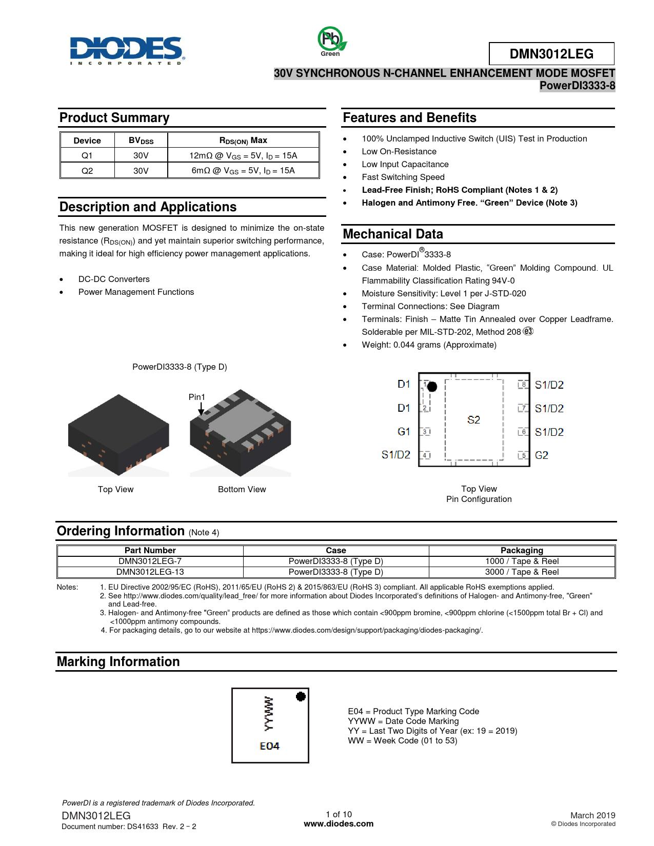 Datasheet DMN3012LEG Diodes
