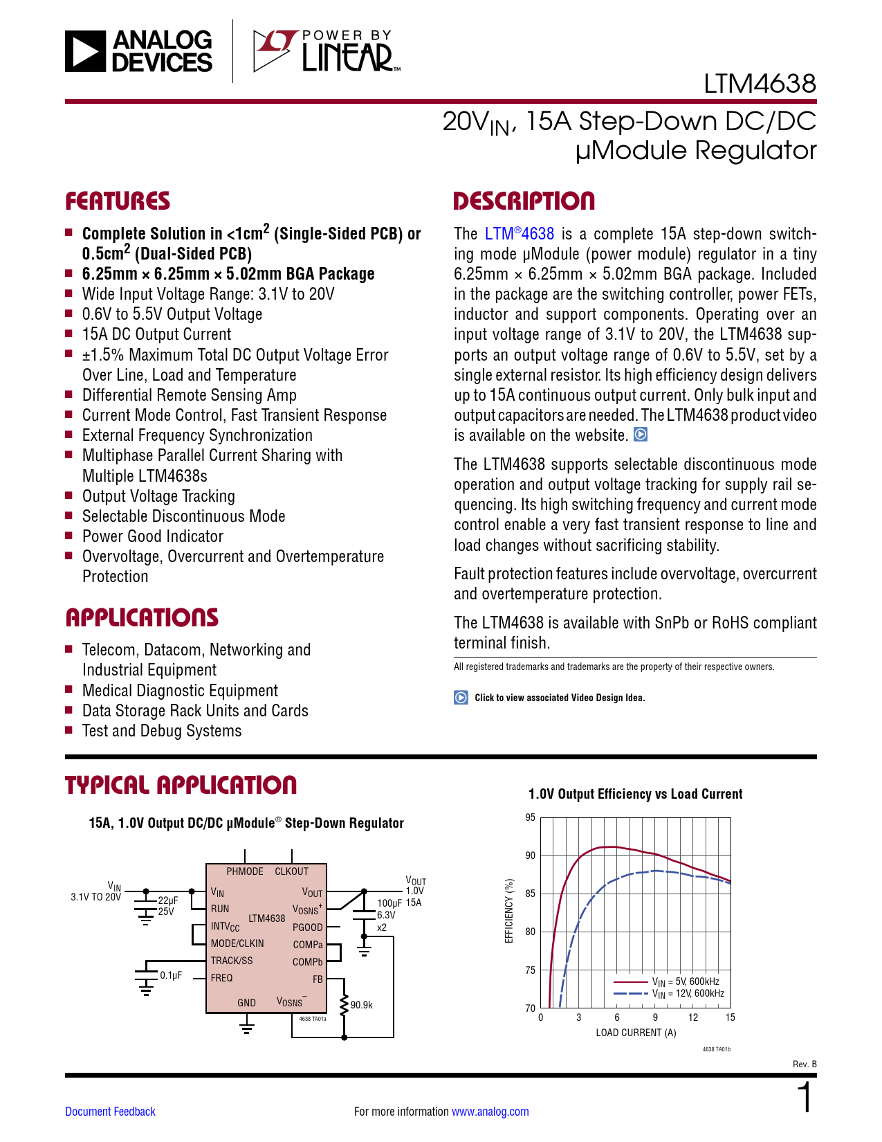 Datasheet LTM4638 Analog Devices, Версия: B