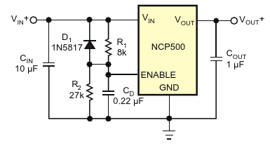 Resistor R2 increases the enable pin's switching threshold voltage