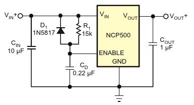 В качестве альтернативы прямому соединению вывода разрешения регулятора с его входом для задержки времени включения регулятора в этой «традиционной» модификации используются резистор и конденсатор Диод устраняет задержку выключения питания