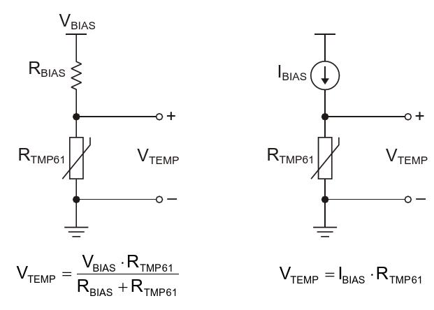 Для питания резистивного элемента - термистора - может использоваться источник напряжения (слева) или источник тока (справа) На практике в большинстве схем, управляемых напряжением, используют логометрический метод измерения, чтобы нейтрализовать влияние