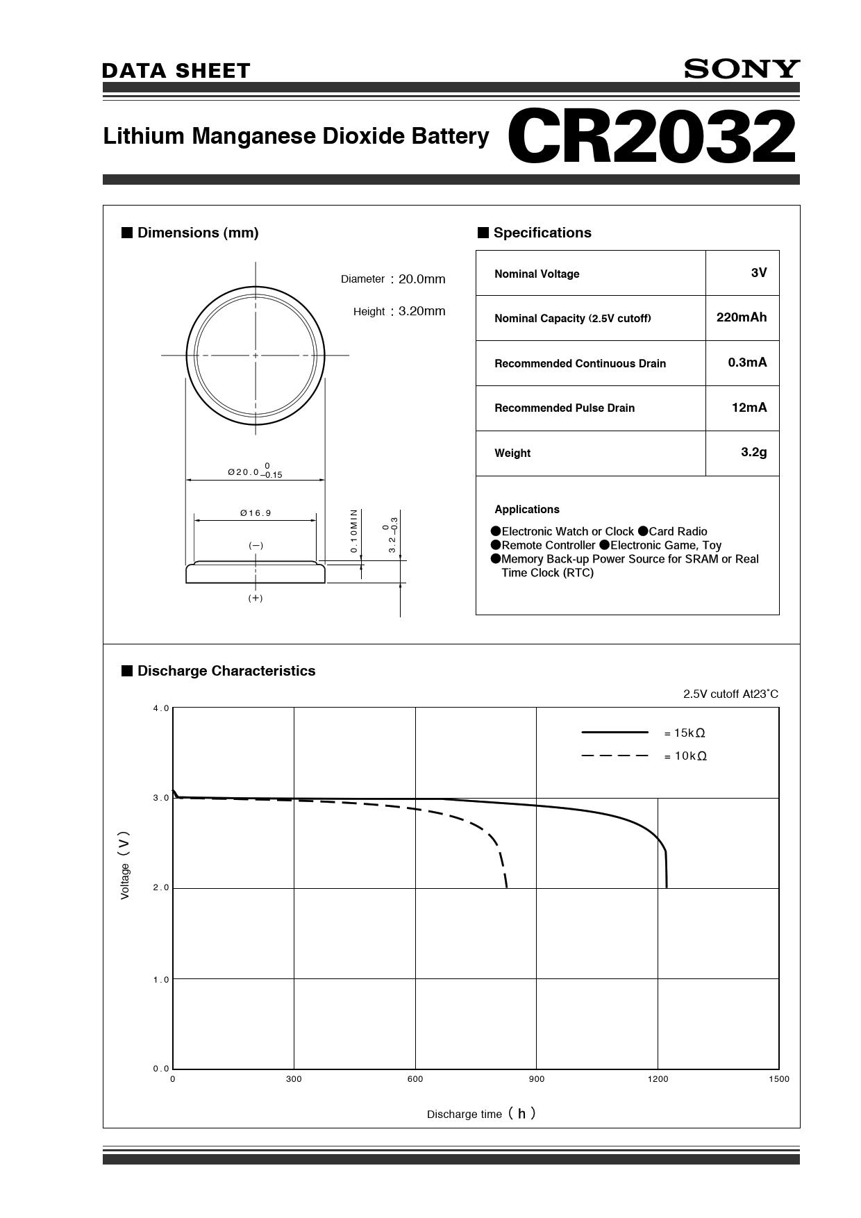Datasheet CR2032 Sony