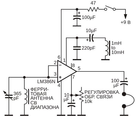 Эта схема показывает, как использовать LM386 в качестве средневолнового регенеративного приемника
