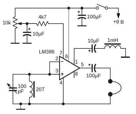 Схема из технического описания микросхемы LM386 компании Texas Instruments