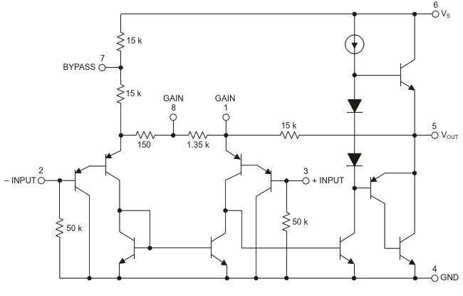 This LM386 schematic is taken from a Texas Instruments datasheet