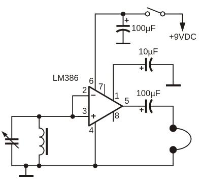 The LM386 can be used as a tuned radio frequency receiver