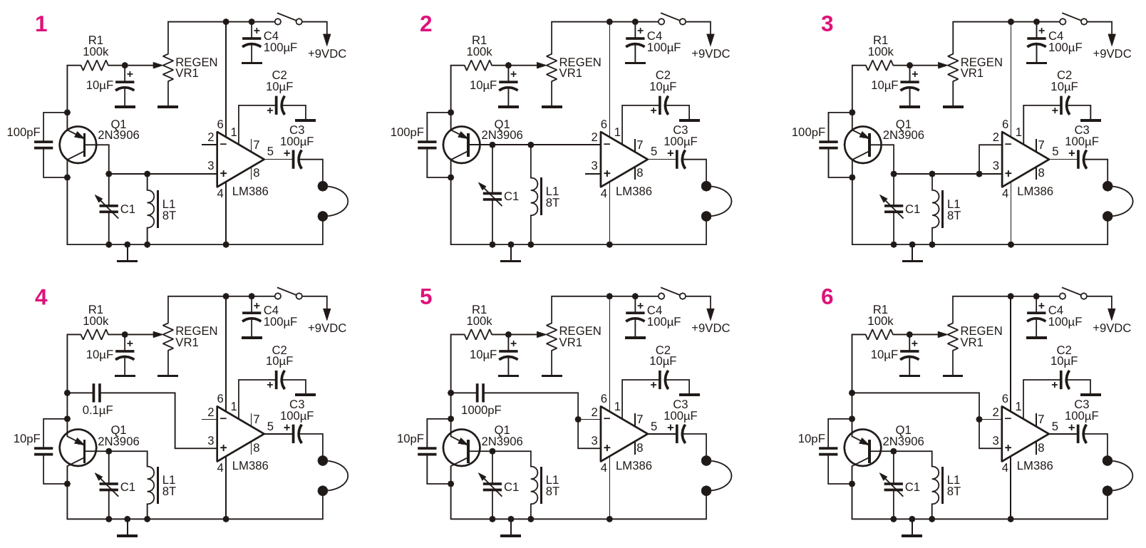 Create LM386 shortwave regenerative receivers using high gain and RF envelope detector modes