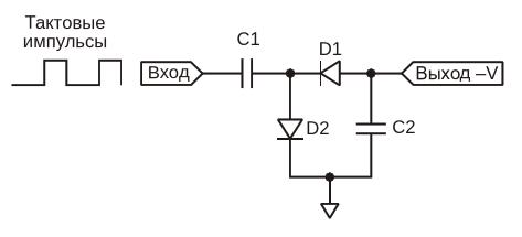 В этом инвертирующем зарядовом насосе источником необходимой энергии служат входные импульсы