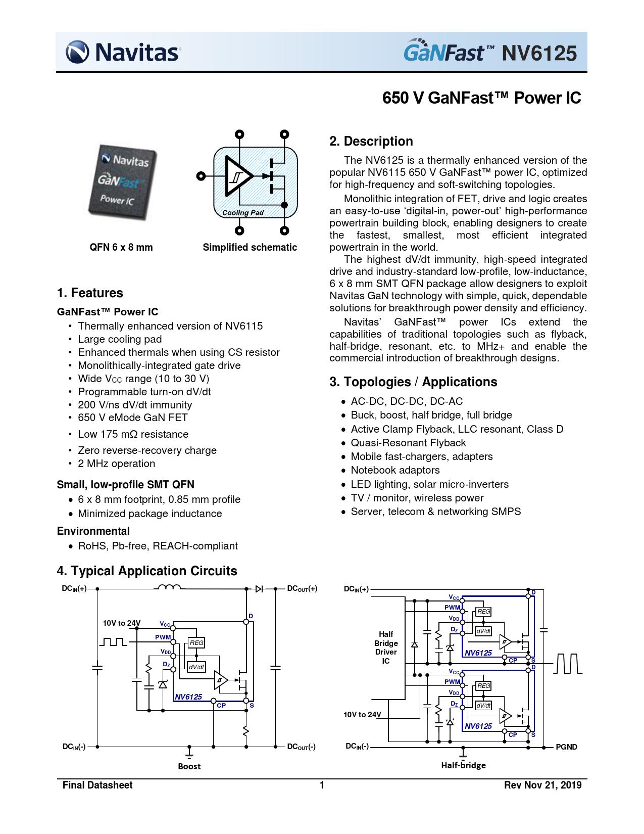 Datasheet NV6125 Navitas Semiconductor