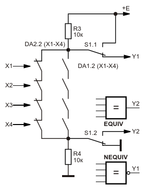 Эквивалентная схема оптоэлектронных логических элементов «Эквивалентность» и «Эквивалентность-НЕ»