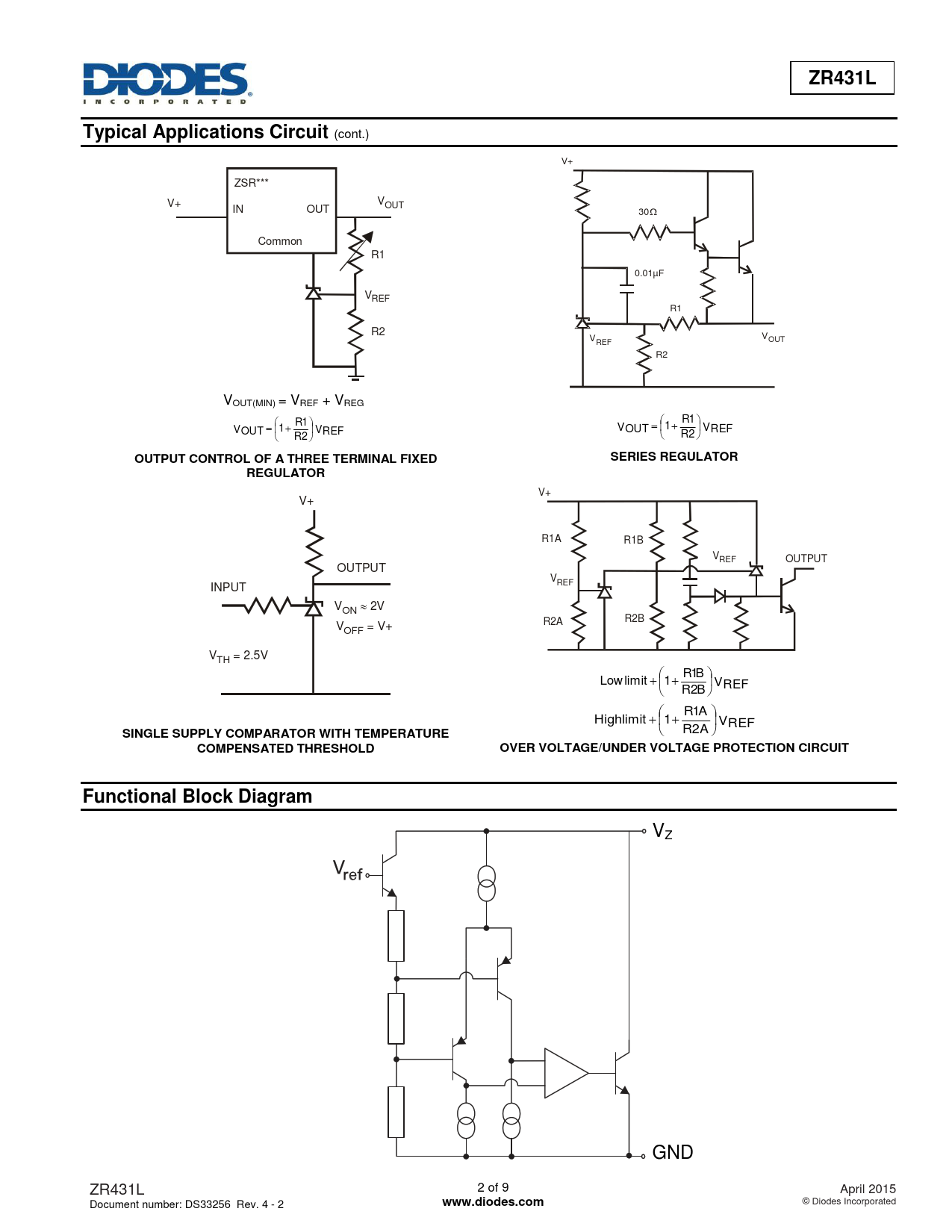 ZR431L Typical Applications Circuit OUTPUT CONTROL OF A THREE TERMINAL FIXED SERIES REGULATOR REGULATOR