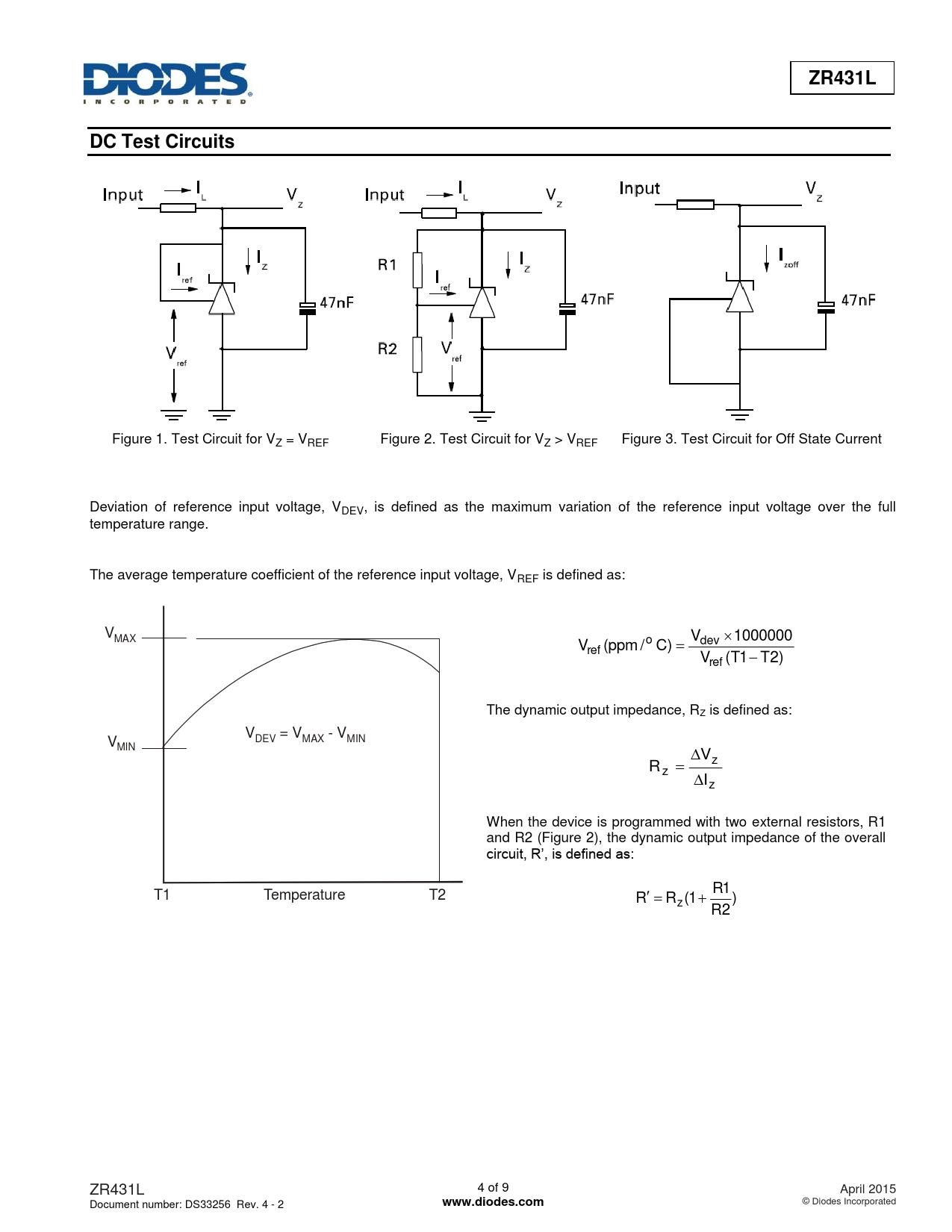ZR431L DC Test Circuits www.diodes.com