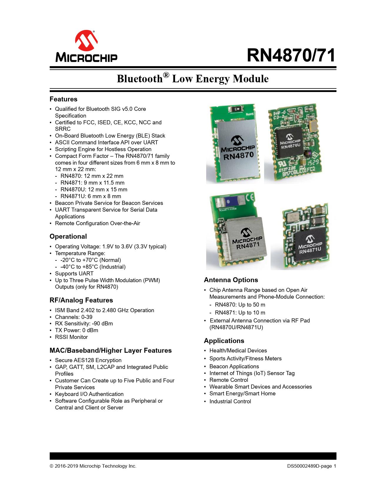 Datasheet RN4870, RN4871 Microchip
