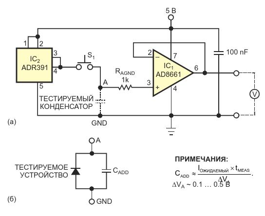 С помощью этого простого устройства сначала подают опорное напряжение на тестируемый конденсатор, а затем измеряют спад напряжения во времени на выходе повторителя напряжения (а) Схема также может измерять ток утечки обратносмещенного активного устройства