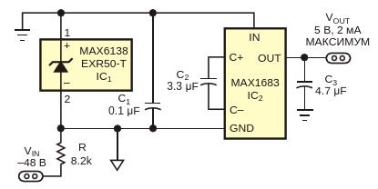 Эта небольшая и простая схема преобразует напряжение -48 В в 5 В
