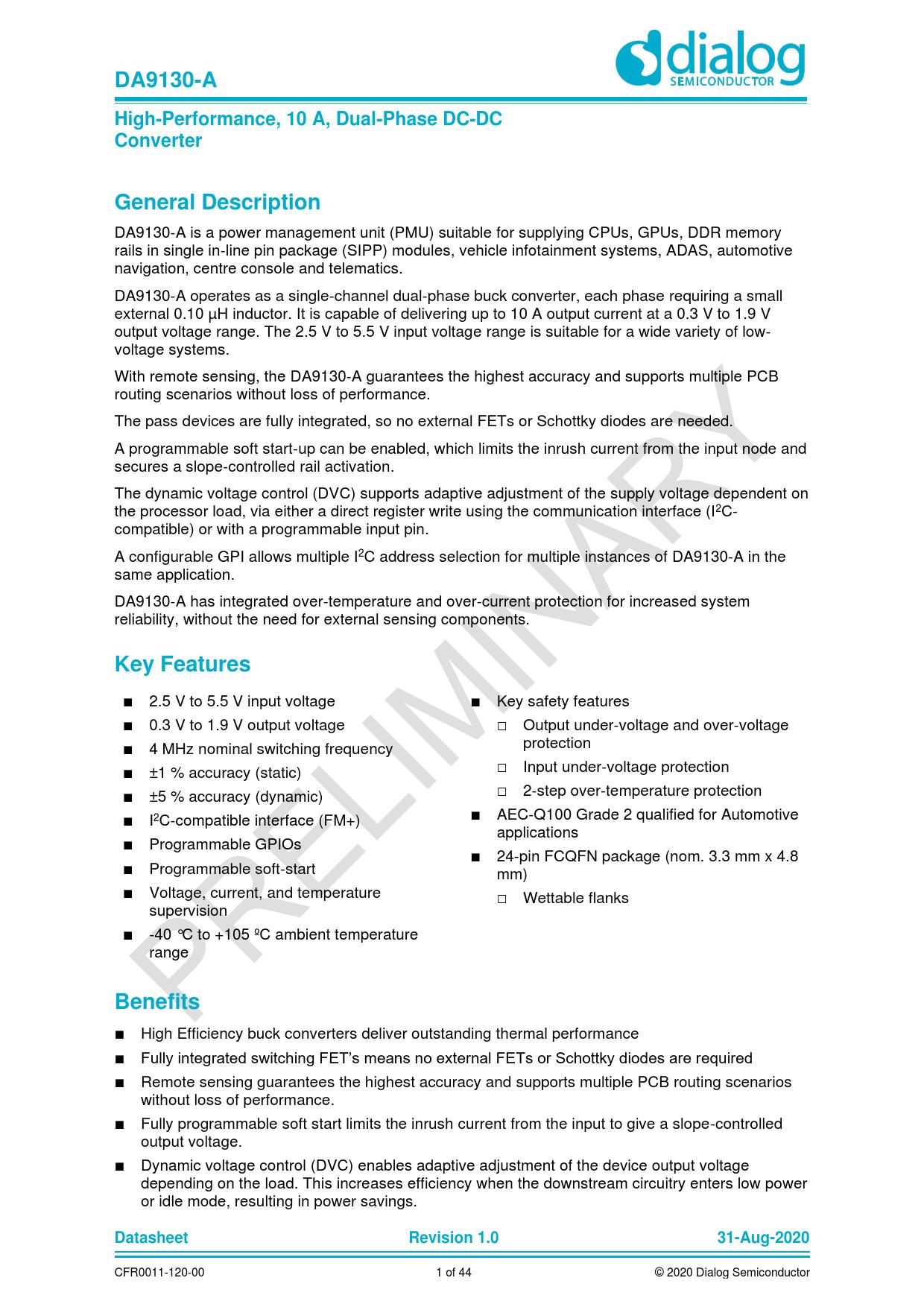 Datasheet DA9130-A Dialog Semiconductor