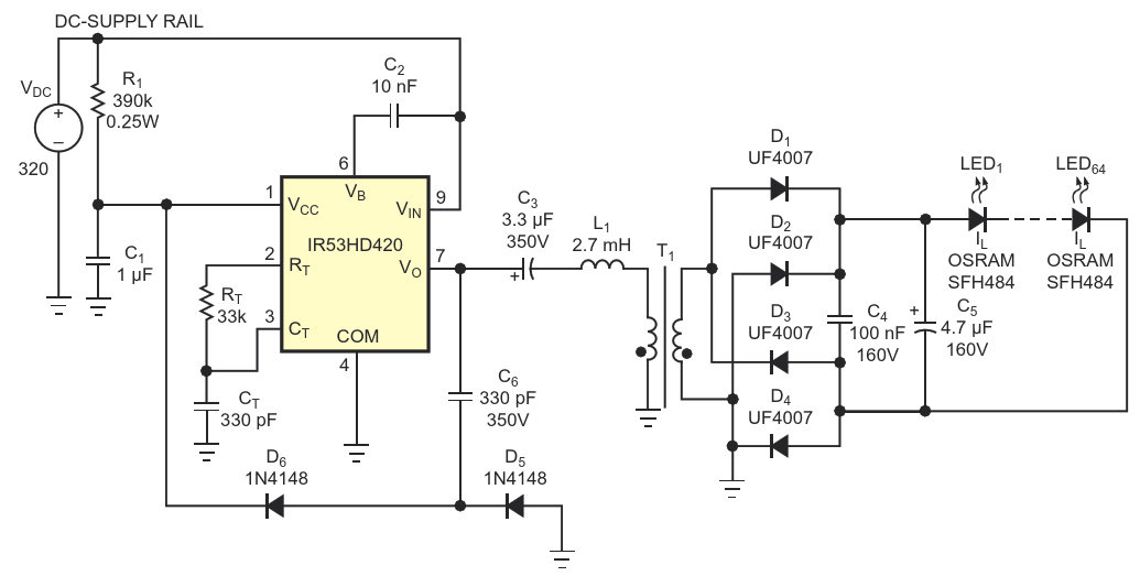 Adding a transformer to the circuit in Figure 1 allows you to connect as many LEDs as necessary