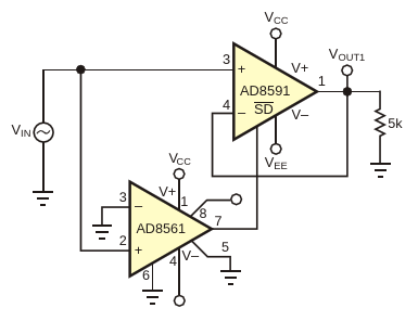 This circuit greatly improves on the performance of the circuit in Figure 1
