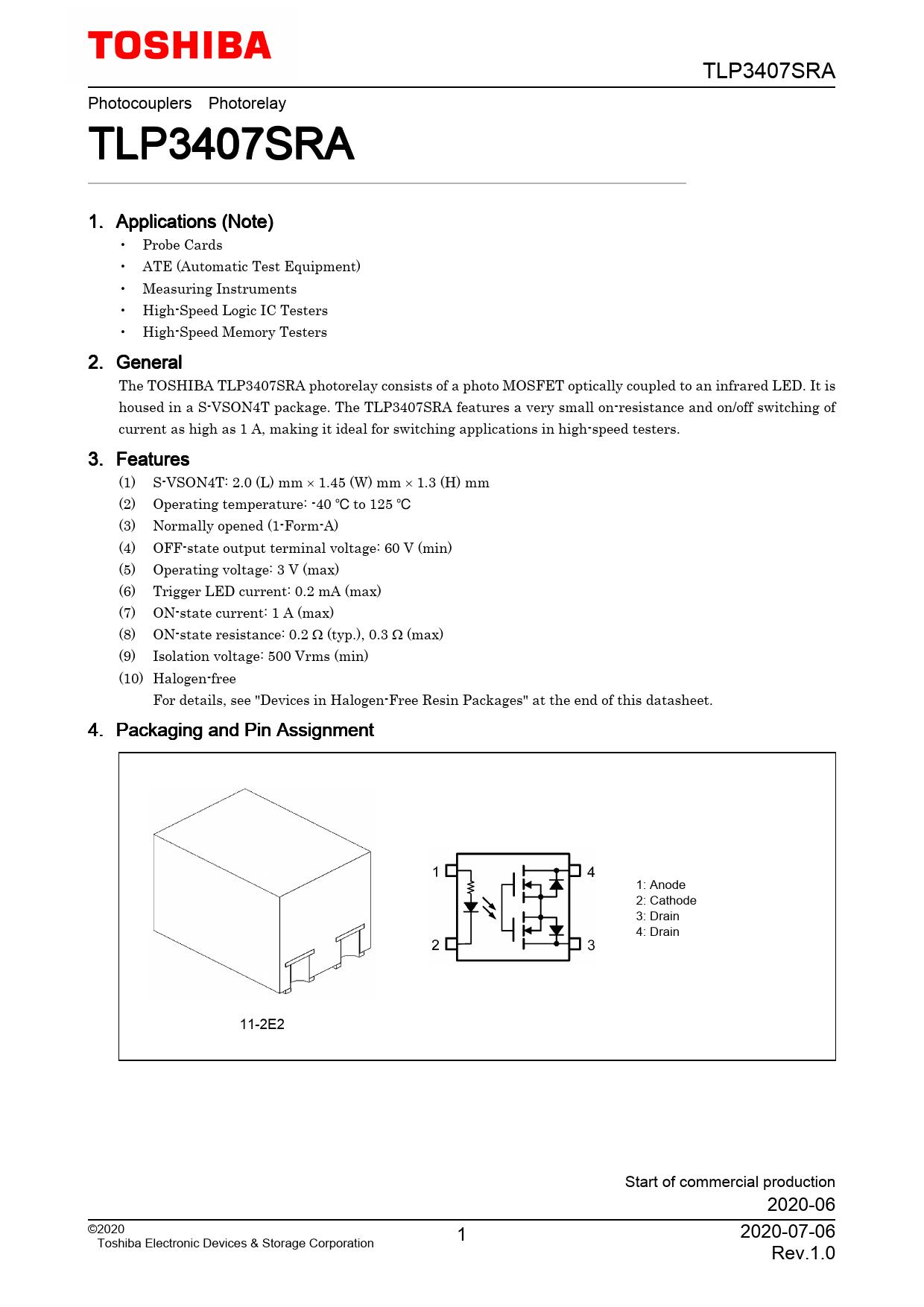 Datasheet TLP3407SRA Toshiba