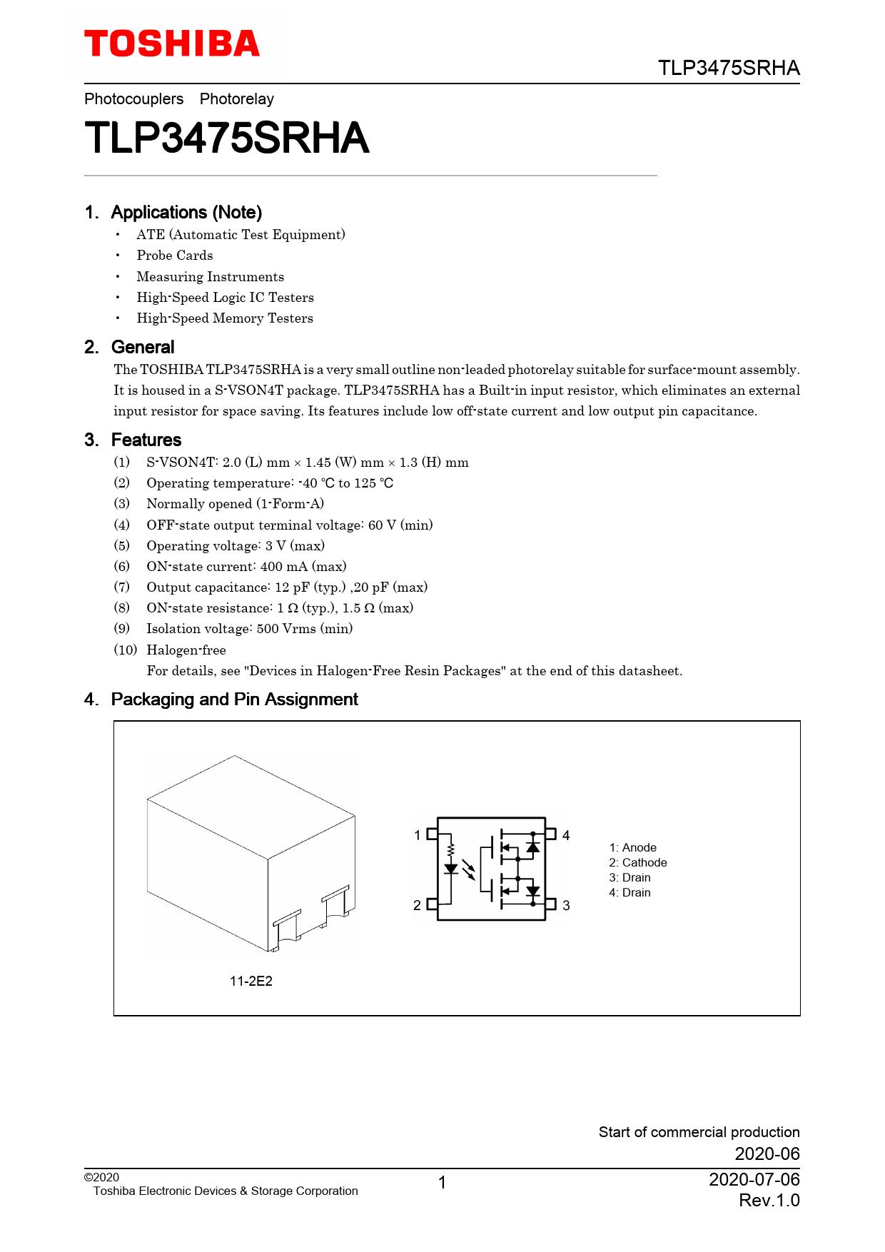 Datasheet TLP3475SRHA Toshiba