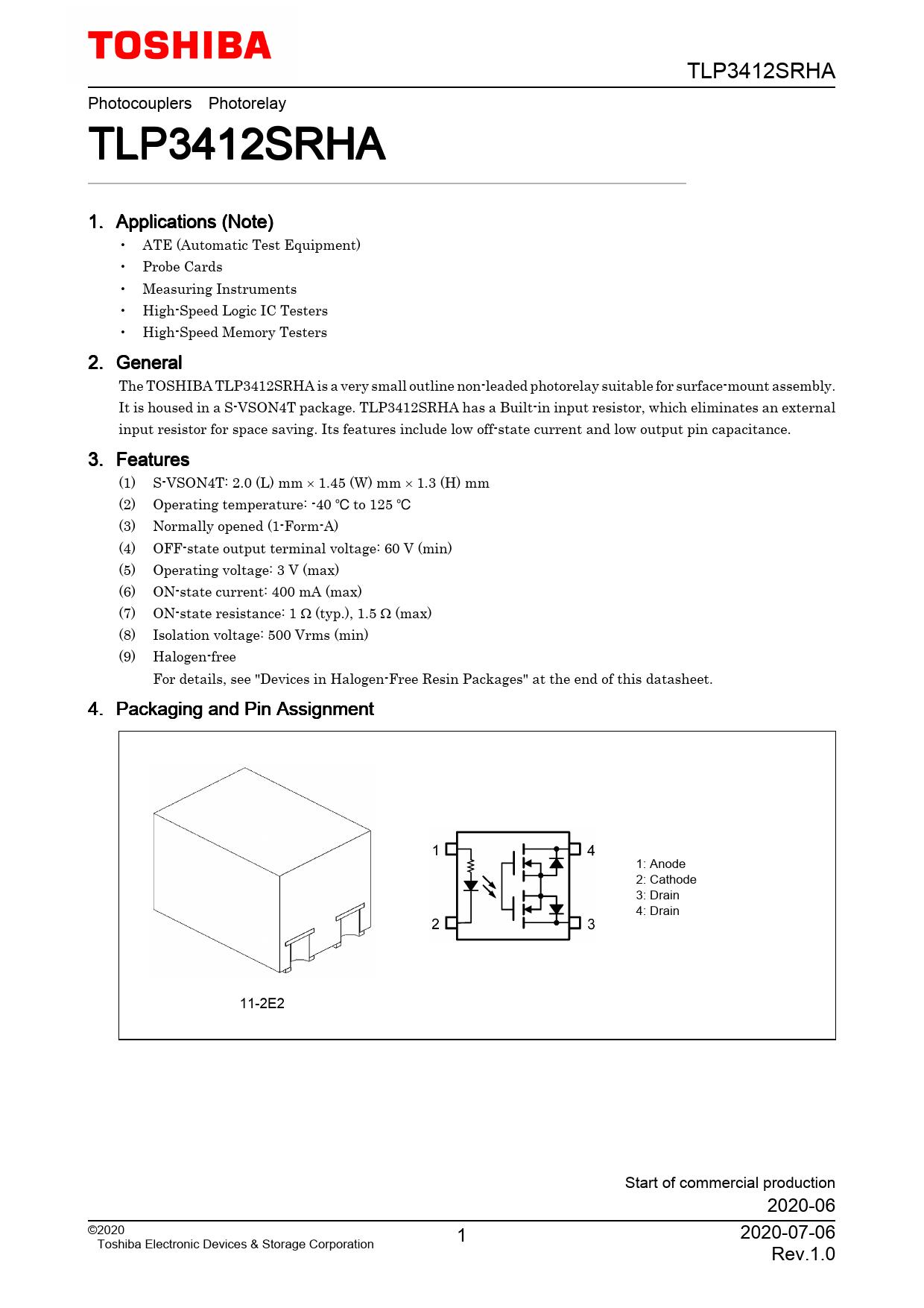 Datasheet TLP3412SRHA Toshiba