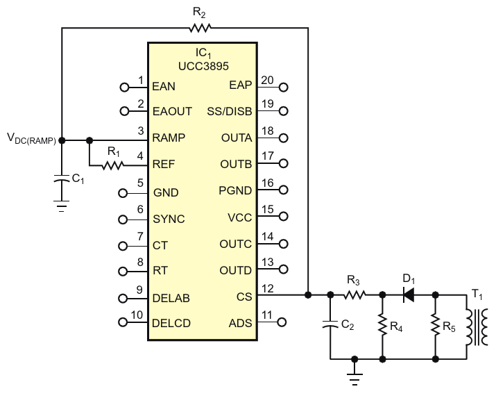 An added resistor, R sub 1 /sub , helps improve light-load operation of a popular switched-mode power-supply controller by eliminating output asymmetry