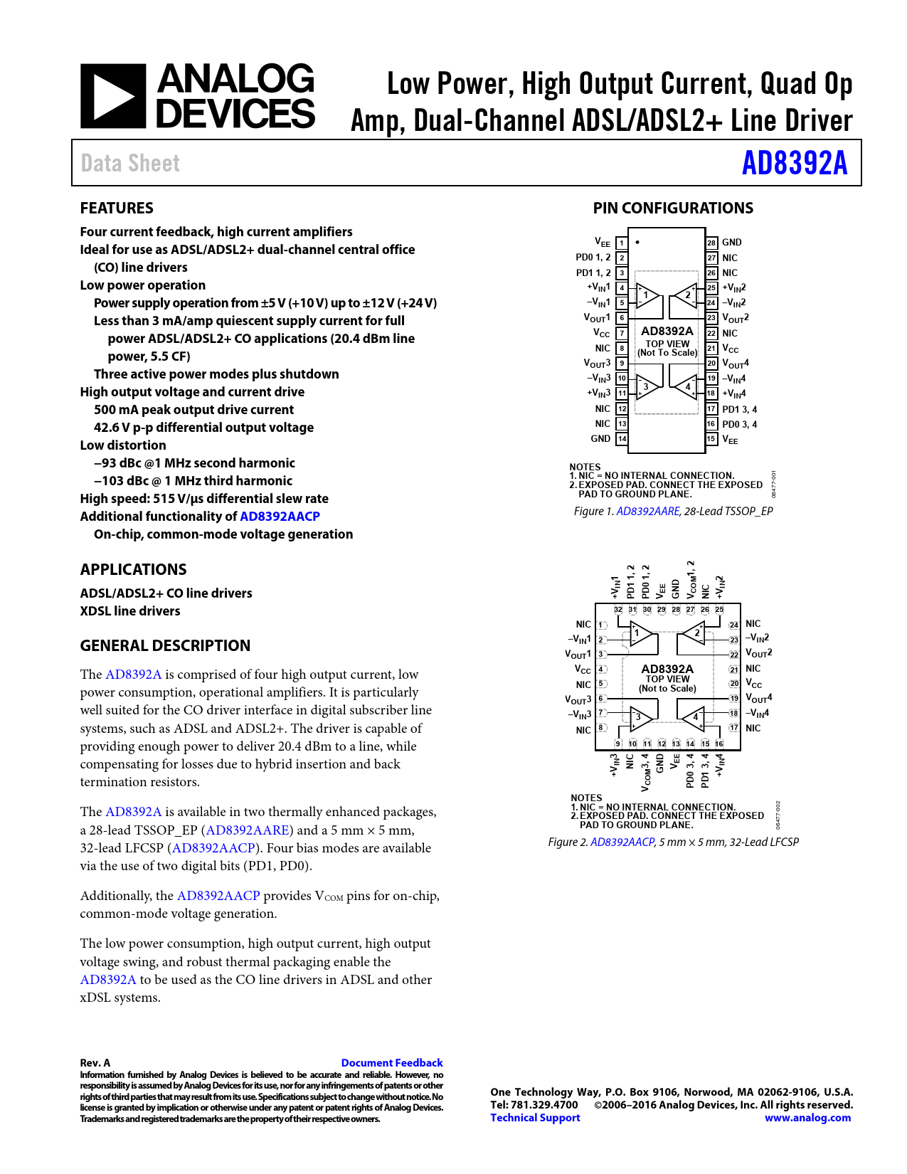 Datasheet AD8392A Analog Devices, Revision: A