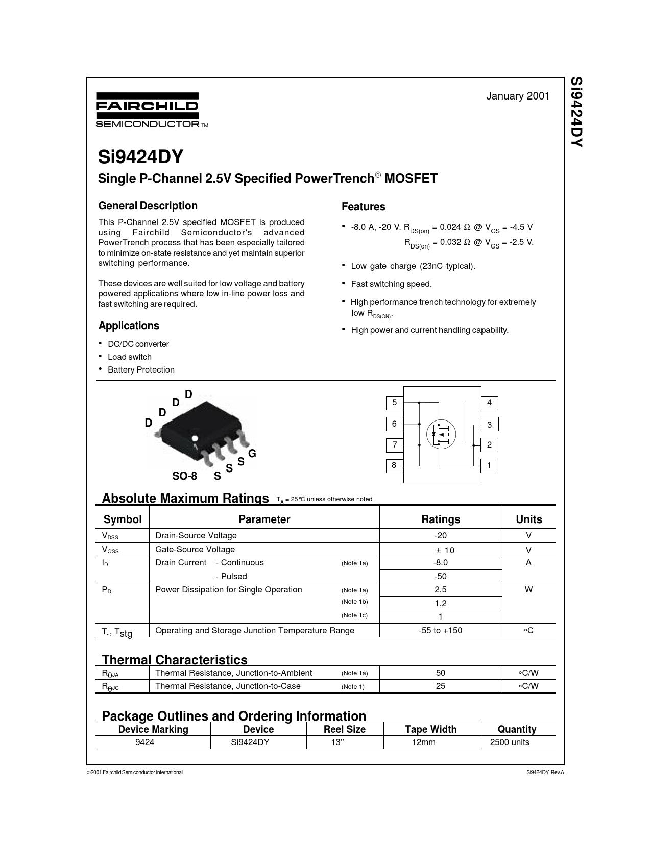 Datasheet SI9424DY Fairchild