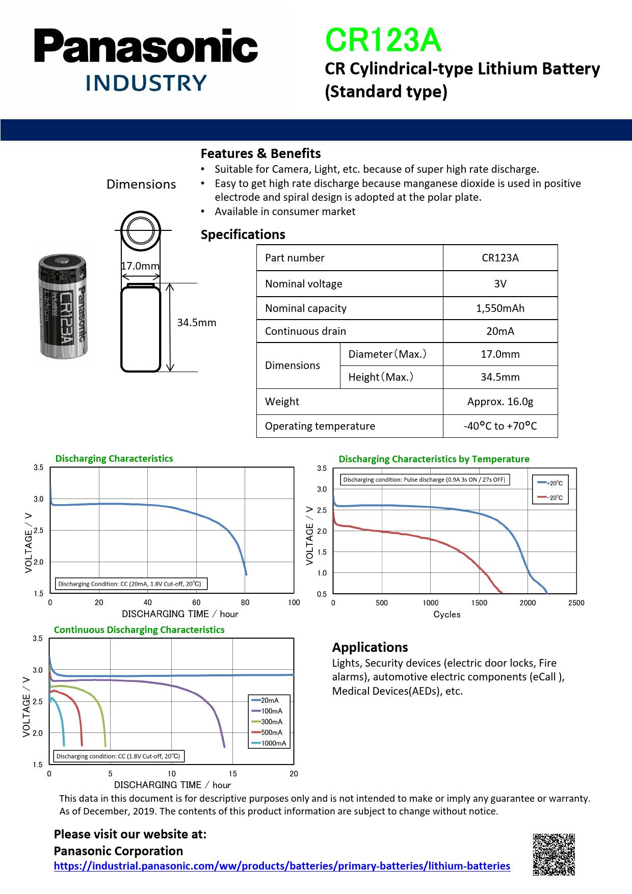 Datasheet CR123A Panasonic