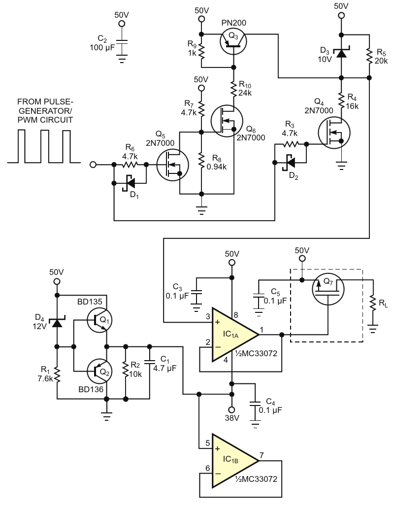 An op amp operating at 38 to 50 V provides power to a load through power-MOSFET Q sub 7 /sub