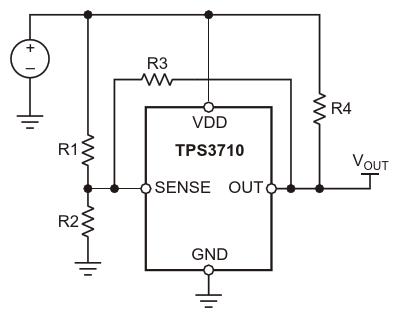 TPS3710 с резисторами, добавленными длясоздания гистерезиса