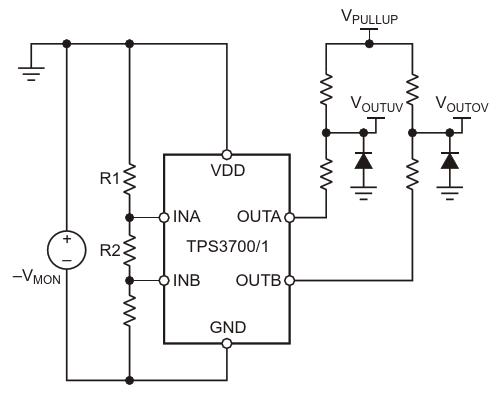 TPS3700/1 configured for negative voltage sensing