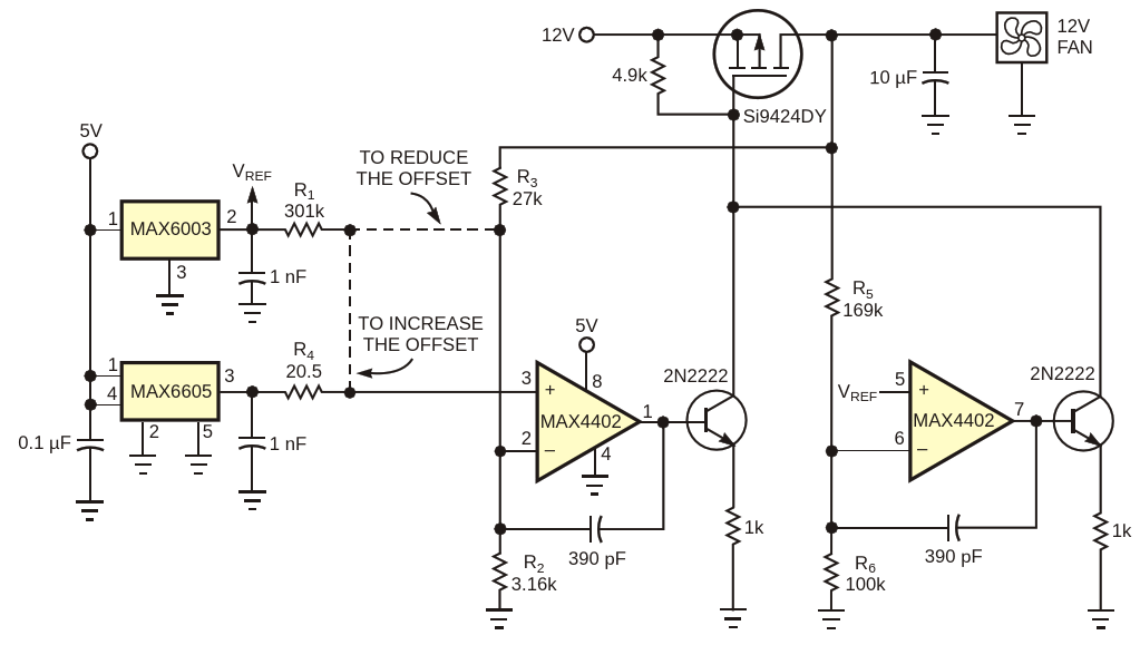 This circuit delivers a continuous and linear fan-control voltage that is proportional to temperature
