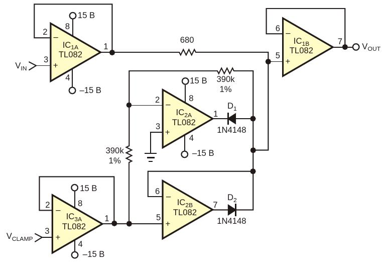 Эта схема обеспечивает ограничение входного сигнала в диапазоне,регулируемом от ±1 В до ±10 В