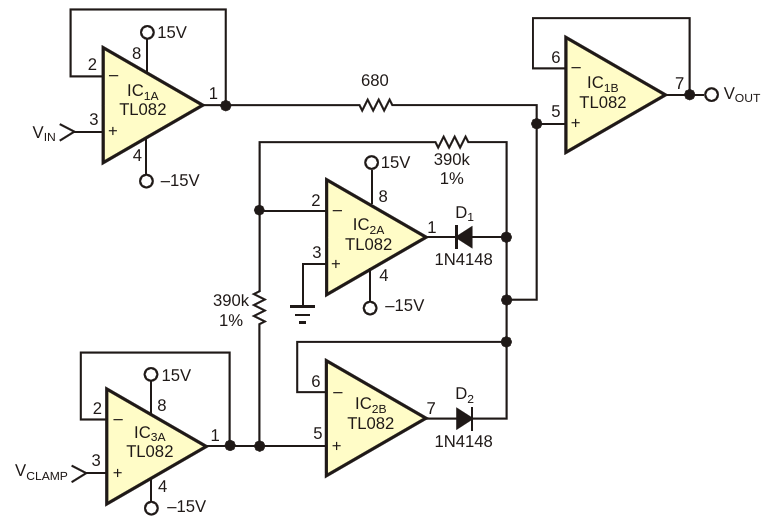 This circuit provides adjustable clamping over the range of ±1 to ±10 V