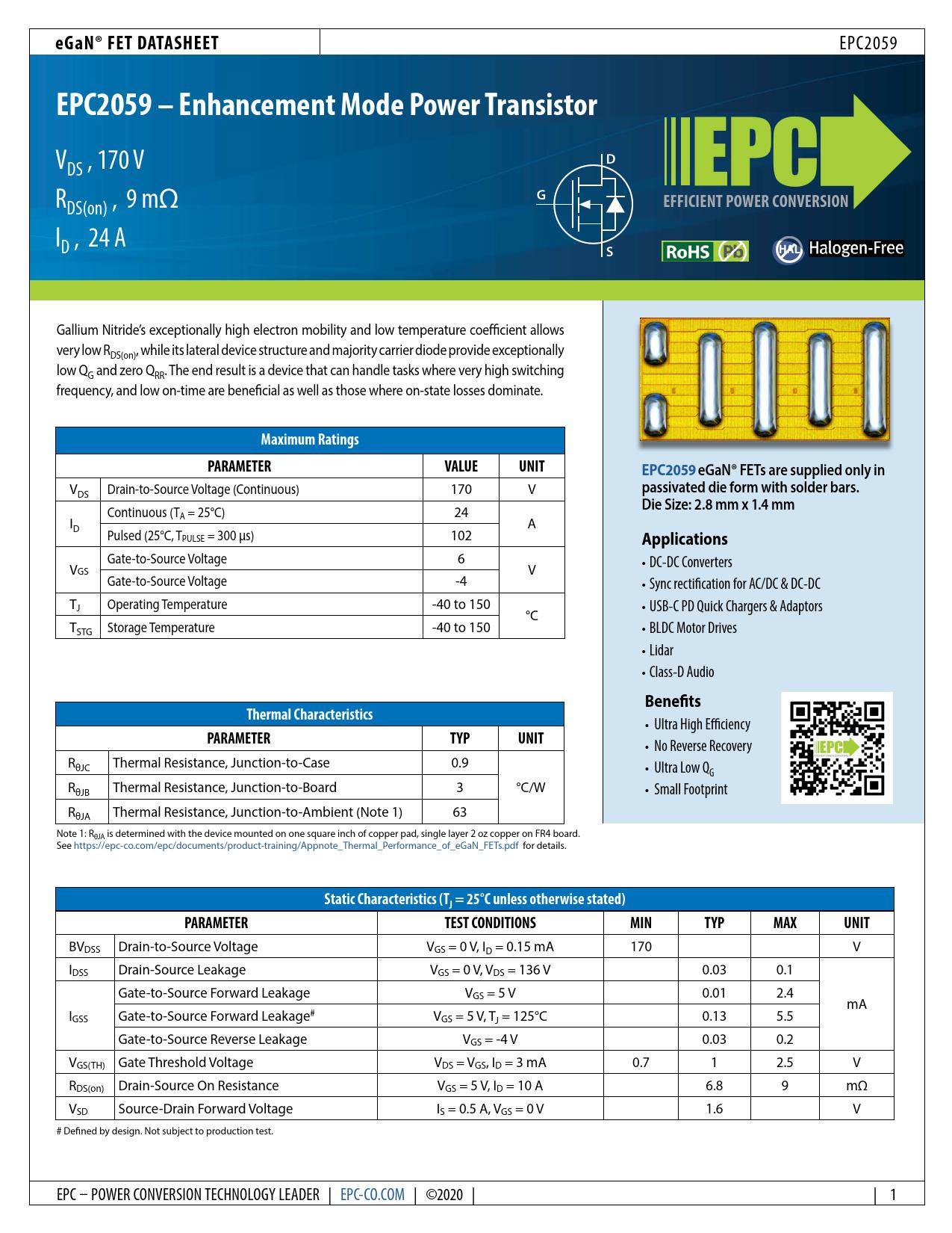 Datasheet EPC2059 Efficient Power Conversion