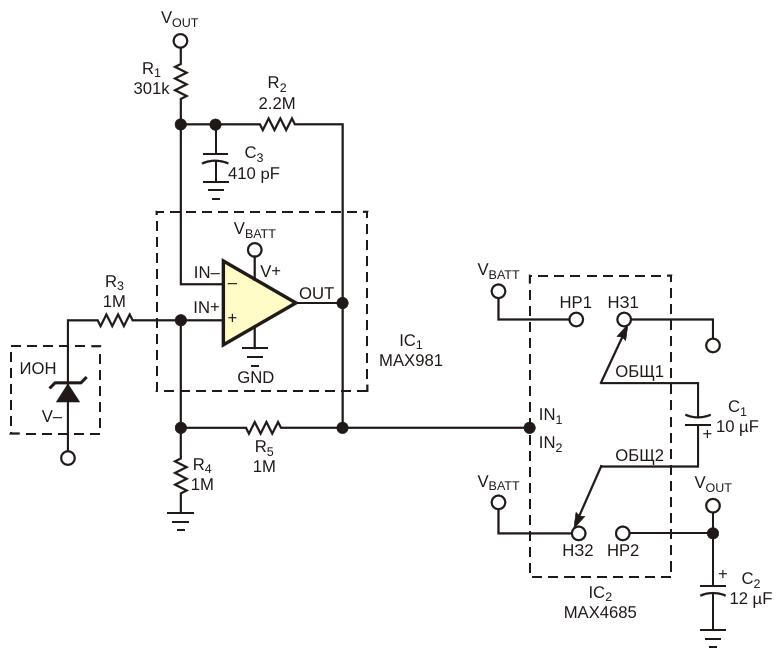 Для достижения ультранизкого тока покоя в этой схемезарядового насоса используется аналоговый коммутатор