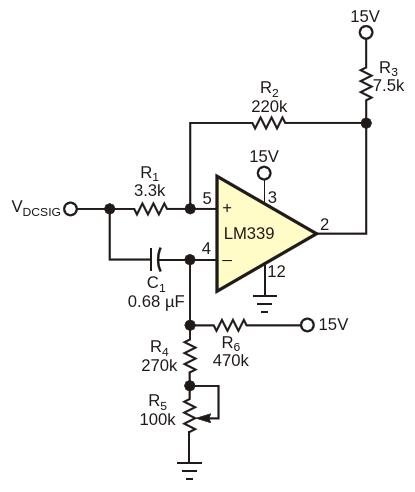 Благодаря подаче зашумленного сигнала на оба входа компаратора, эта схема может сравнивать уровни сигналапостоянного тока и опорного напряжения