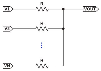 Схема, иллюстрирующая суммирование напряжений на V sub OUT /sub