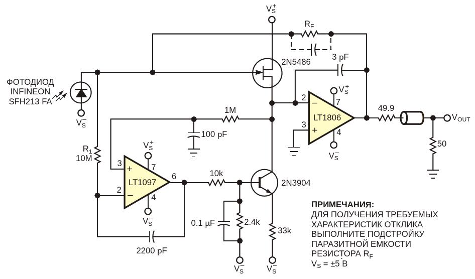Для смещения характеристики JFET в этом быстродействующем усилителетока светодиода с большим коэффициентом усиления используется схема,показанная на Рисунке 1