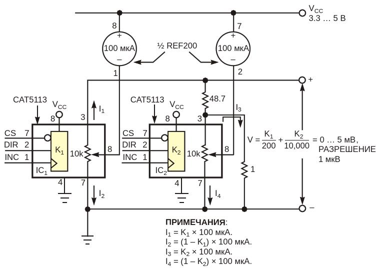 Программируемые цифровые потенциометры образуют необычныйЦАП с микровольтовым разрешением