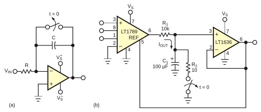 The classic integrator in (a) inverts and requires split supplies.The circuit in (b) is noninverting and works with a single supply