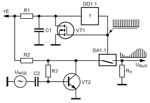 Вариант амплитудного модулятора импульсов иглообразной формы с использованием аналогового коммутатора