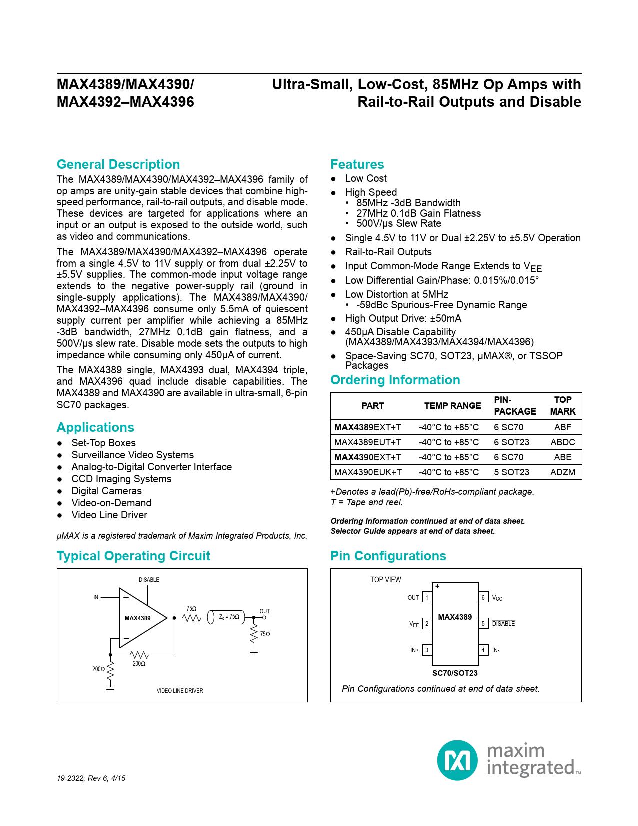 Datasheet MAX4389, MAX4390, MAX4392–MAX4396 Maxim