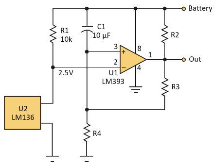 If the battery voltage drops below the designed trip voltage for the comparator, this circuit will alert the user to a low-voltage condition