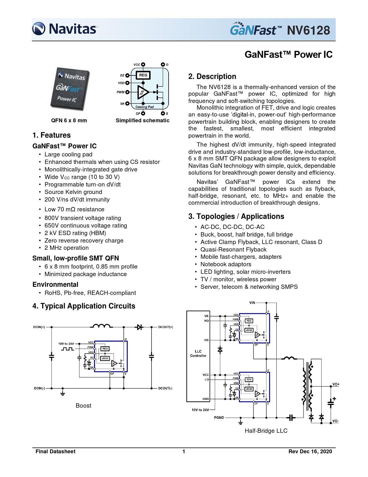 Datasheet NV6128 Navitas Semiconductor