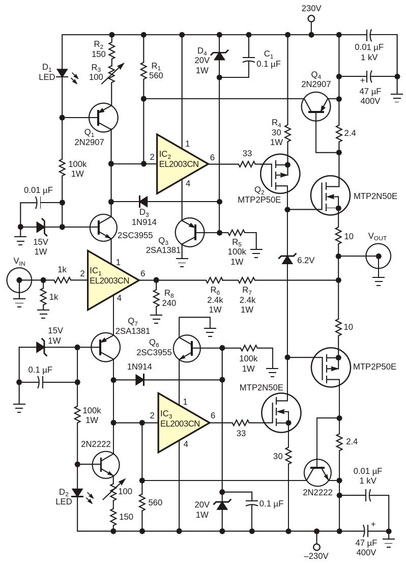 Этот высоковольтный усилитель с обратной связью потоку имеет скорость нарастания 4100 В/мкс