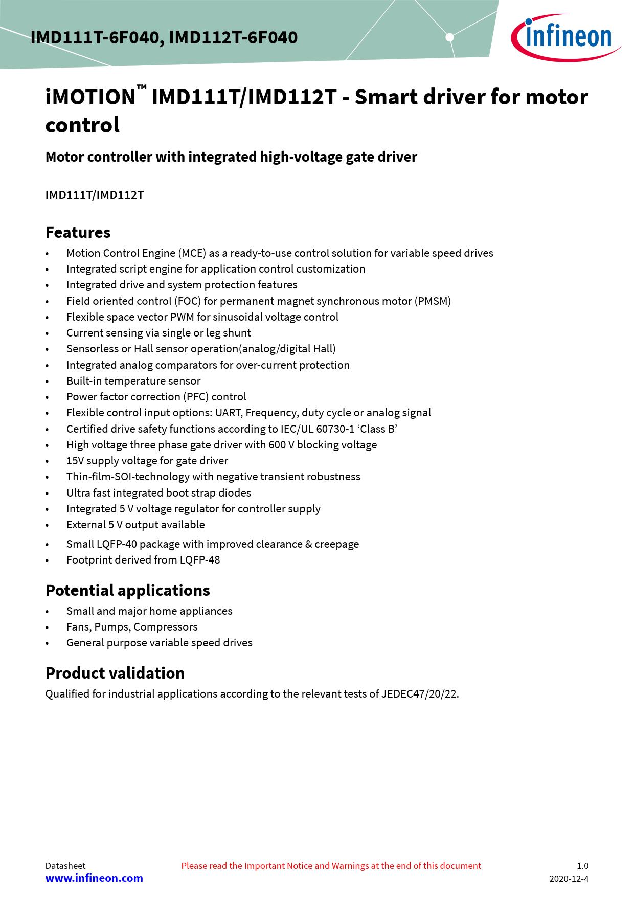 Datasheet IMD112T-6F040 Infineon, 修订版: 01_00