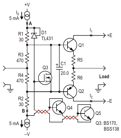 This configuration of an AB class amplifier have some improvements